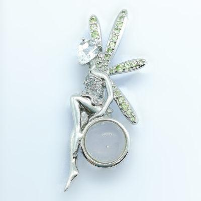 伊百雅S925银粉晶胸针