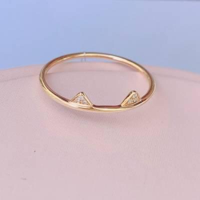幸福单身18ka钻石戒指