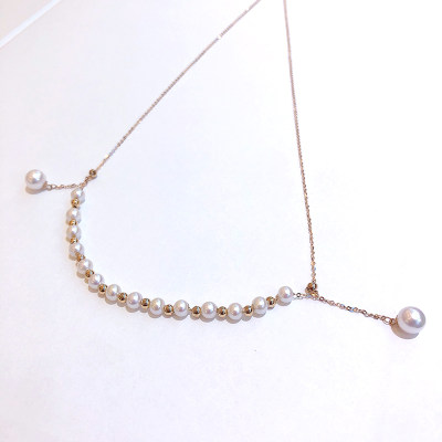 幸福眼泪 专柜正品 18K金红珍珠项链 送女友