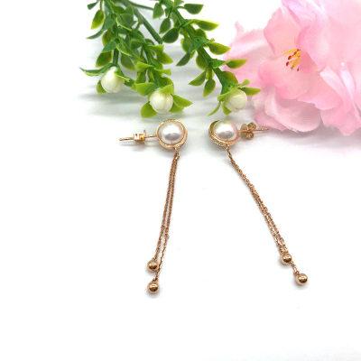 18K金玫瑰色珍珠耳环