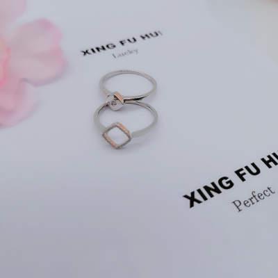 幸福缘分18K玫瑰金时尚双戴钻石戒指送女友送老婆纪念日礼物