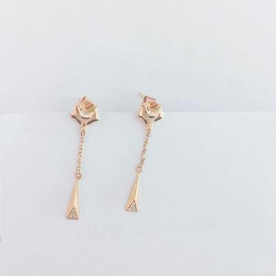 幸福翩跹18k金玫瑰色钻石耳钉