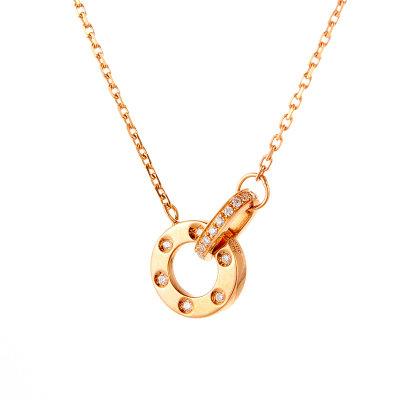 幸福依旧 AU750金玫瑰色钻石套链简约几何钻石吊坠锁骨链送女友礼物