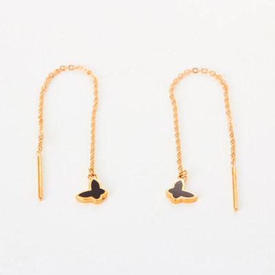 幸福之夏-AU750金玫瑰色滴胶素金耳钉 创意蝴蝶耳线