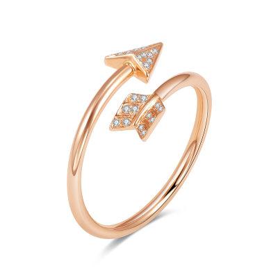 幸福猎人AU750金玫瑰色钻石女戒戒指