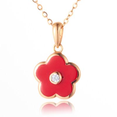 幸福花季 18K金玫瑰色合成立方氧化锆套链 时尚花朵项链 轻奢精致 节日情人节礼物