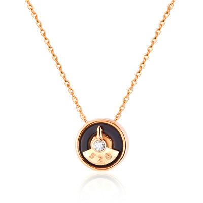 分秒幸福AU750金玫瑰色素金套链时尚饰品女士轻奢