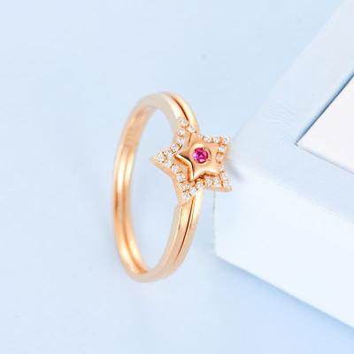 刚好幸福-AU750金玫瑰色钻石戒指女 五角星单叠两戴 简约时尚