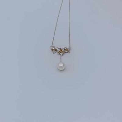 幸福花季18K金白色珍珠嵌宝套链 时尚小清新项链