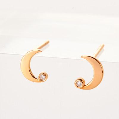 幸福少女-AU750金玫瑰色钻石耳环