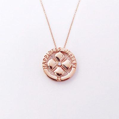幸福珠宝专柜正品 幸福感悟 微幸福微幸福AU750金玫瑰色钻石套链