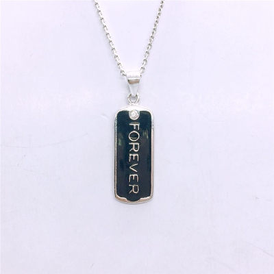 爱情岁月S95银电白合成立方氧化锆镶嵌男款吊坠