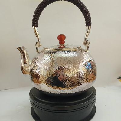 粼光 足银本色玛瑙茶具 槌石纹提梁壶