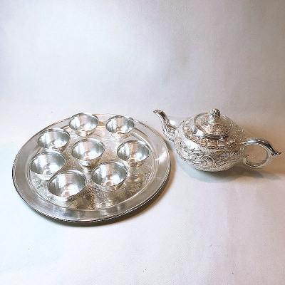 **之路-足银本色茶具-龙凤呈祥