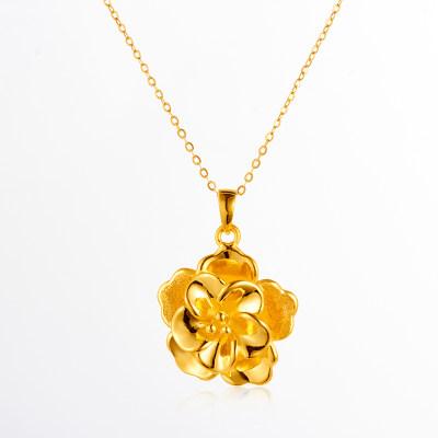 幸福富贵 牡丹花 3D硬金黄金吊坠 足金古风气质珠宝项链吊坠 送老婆送妈妈