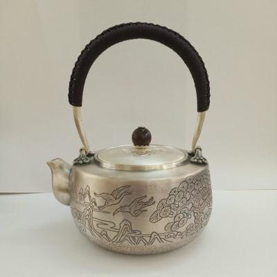 足银本色檀木茶具手工纯银提梁壶纯银烧水壶纯银煮茶壶 迎客松