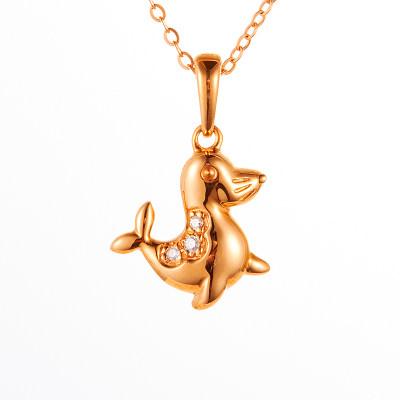爱情漫游-海狗-18k金玫瑰色钻石套链