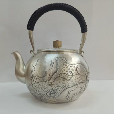 足银本色茶具手工纯银提梁壶纯银烧水壶纯银煮茶壶 狮子