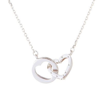 幸福依旧 AU750金白色钻石套链心形几何钻石吊坠锁骨链送女友礼物