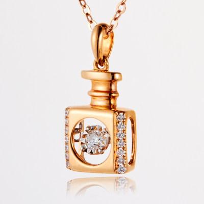 幸福浪漫 AU750金玫瑰色钻石吊坠 不带链 18K金镶钻 灵动系列 香水瓶吊坠 女生节日礼品