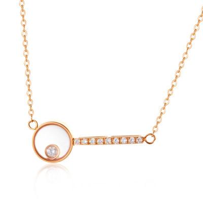 幸福圆舞曲系列AU750金玫瑰色钻石简约几何套链/节日礼品女友闺蜜
