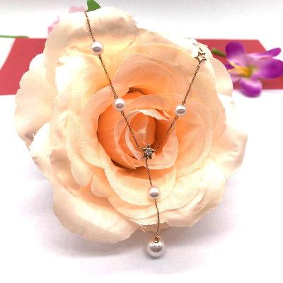 18K金红珍珠项链