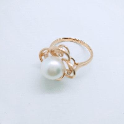 幸福珍惜-18K金玫瑰色钻石珍珠戒指 潮流镂空花朵镶钻女戒