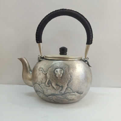 足银仿古檀木茶具手工纯银提梁壶纯银烧水壶纯银煮茶壶 狮子