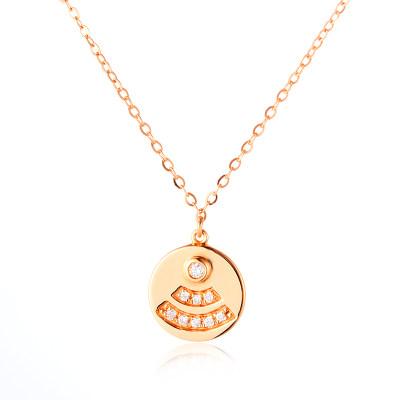 唤醒幸福-AU750金玫瑰色钻石镶嵌套链 wifi创意锁骨项链