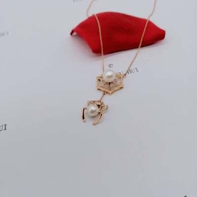 编织幸福18K玫瑰金珍珠个性套链时尚不撞款