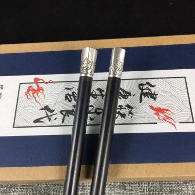 银木赋专柜正品 足银檀木筷 方形坐莲筷子 居家餐具 送朋友