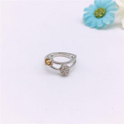 S925银电白黄晶戒指