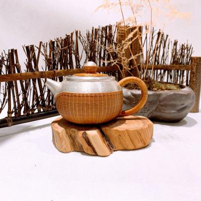 匠义-足银本色茶具-编织壶