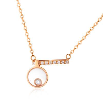 幸福探索者系列AU750金玫瑰色钻石套链-003款式