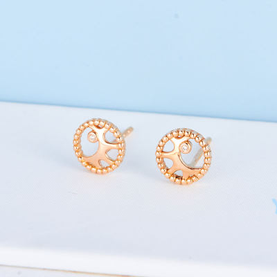 幸福朝夕 AU750金玫瑰色钻石耳钉 K金镶钻耳饰 简约气质珠宝