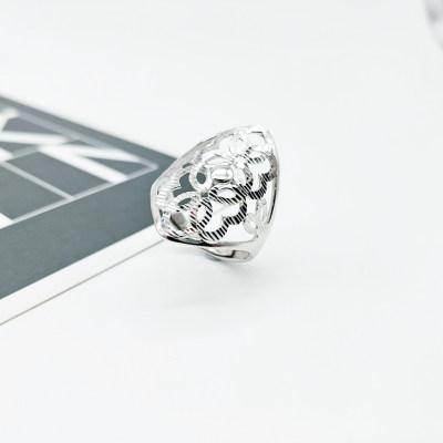 花爱 S925银 电白 素银 活口 戒指