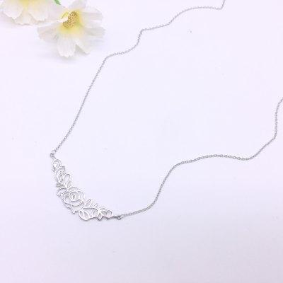 桃花女神S925银电白素银套链