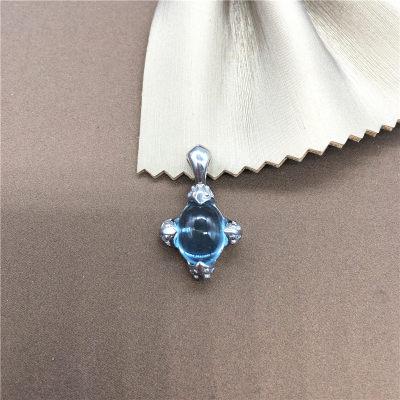 幸福猎人S925银托帕石吊坠天然彩宝蛋型项坠不含链送女友妈妈礼物