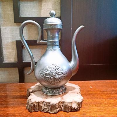 银酒赋-足银仿古酒具-双龙戏珠酒壶