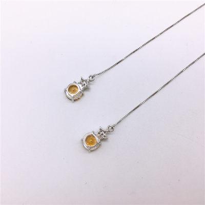 S925银电白黄晶耳线