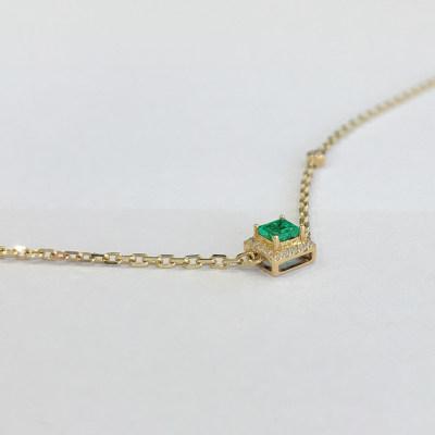 幸福悦己AU750祖母绿手链显手细饰品