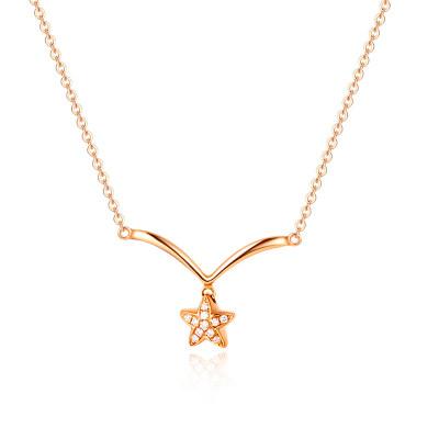 幸福希望-18K金玫瑰色钻石套链