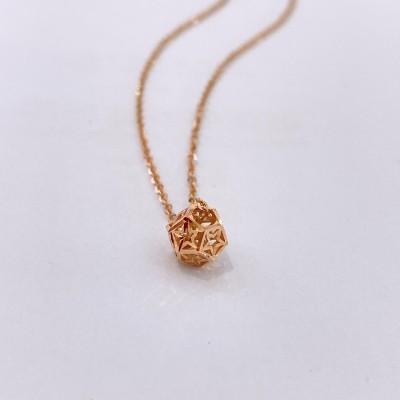 幸福千面 专柜正品 18K玫瑰金素金套链