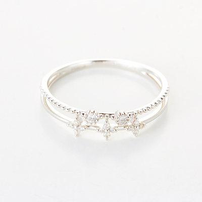 幸福单身 AU75018k金钻石女戒时尚小清新 送女朋友 送老婆