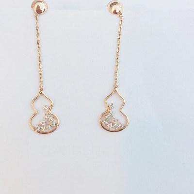 幸福成果18K金玫瑰色钻石耳钉