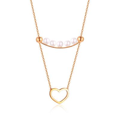 幸福真谛 18K金玫瑰色珍珠简约心形套链/节日礼品送女友老婆闺蜜