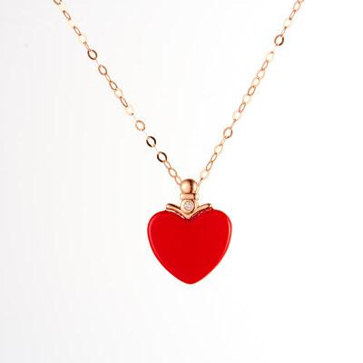 幸福心愿 AU750金玫瑰色钻石吊坠