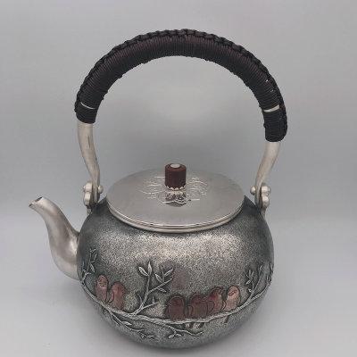 银创道-足银仿古菩提茶具-欢聚一堂提梁壶