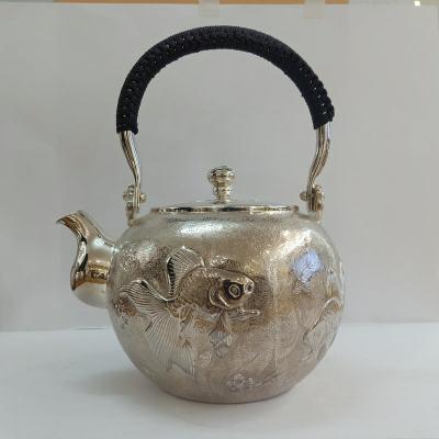 足银本色茶具手工纯银提梁壶纯银烧水壶纯银茶具 金鱼