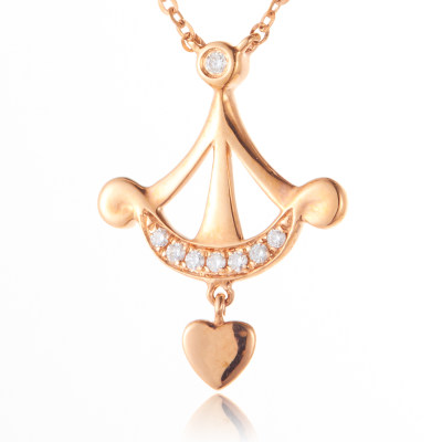 幸福爱神 AU750金玫瑰色钻石项链 18K金钻 丘比特之箭 爱神表白项链时尚百搭个性